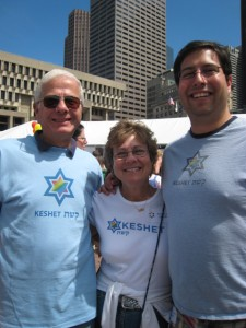 David & his parents, marching with Keshet at Boston Pride in 2009.