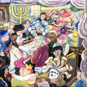 """Purim Megillah Reading with the MWTG"" by Montreal Artist, Miriam Lanail"