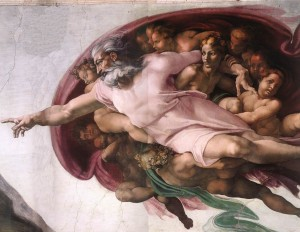 Michelangelo Buonarroti, God the Father with Lady Wisdom creating Adam detail, Cappella Sistina, Vatican, 1510