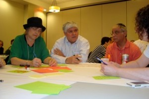 Parents at work at our World Café at the first ever gathering of Orthodox parents of LGBT children.