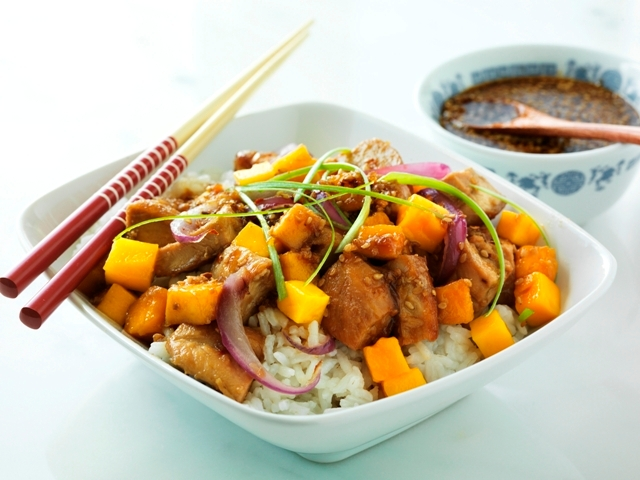 SAN FRANCISCO, CALIF - JUNE 28, 2012:  Soy Vay Island Teriyaki Mango Chicken.  PHOTO BY JOHN LEE