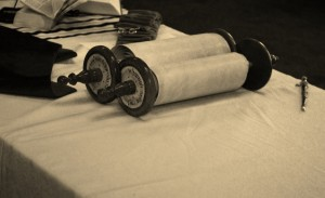 TLP torah on table, BW photo
