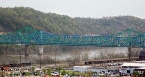 Dual bridges over the Ohio river run from downtown Ashland to Ohio.