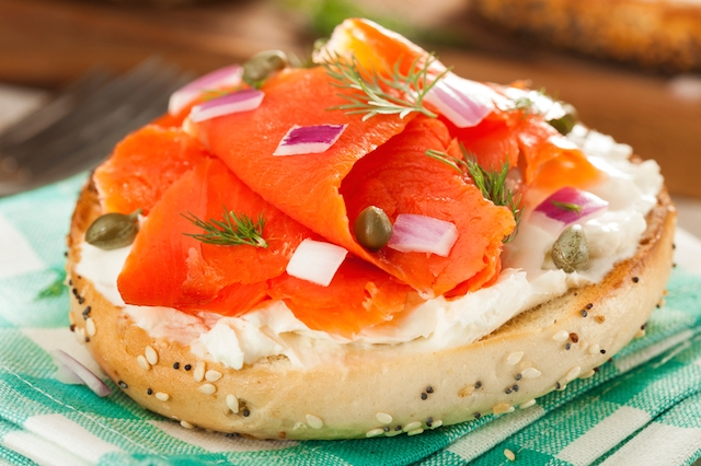 Homemade Bagel and Lox with Cream Cheese and Dill