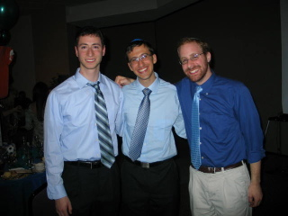 Josh (center) and Dan (right) celebrating together at the bar mitzvah.