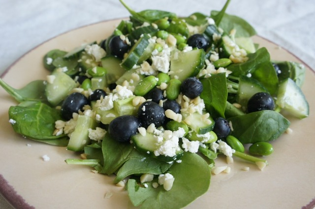 Spinach, Blueberry & Goat Cheese Salad
