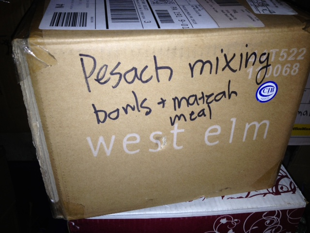 Boxing up the Pesach supplies