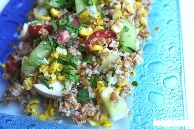 Bulgur Salad with Chicken, Roasted Corn and Tomatoes