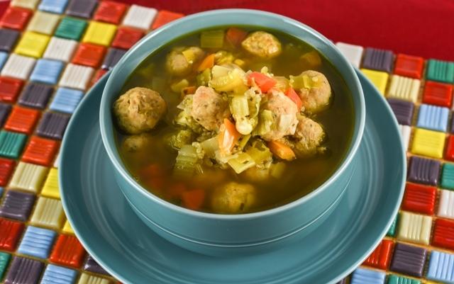 chicken soup with albongidas quinoa and leeks3