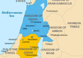 Judah & Israel: A Divided Monarchy | My Jewish Learning on israel split into two kingdoms, map of ancient canaan, map of judah, map moab bethlehem judah, israel divided into two kingdoms,