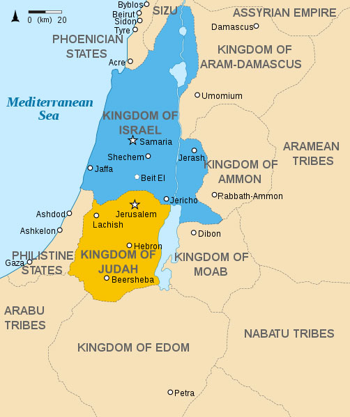 judah and israel map