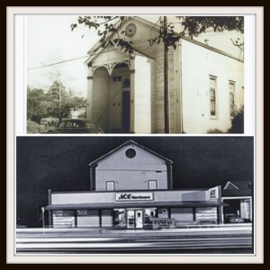 Then and now: Top, the building in its life as a synagogue; bottom, as an Ace Hardware
