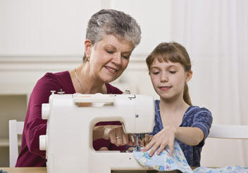 grandmother sewing
