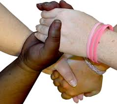 hands holding four colors