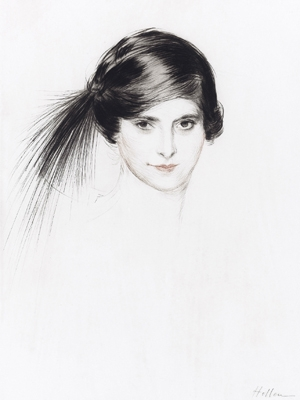 Head of Helena Rubinstein with egret feathers