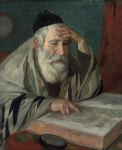 A rabbi studying The Talmud