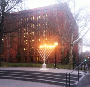Menorah on the NYU camps (the author's graduate alma mater) last year