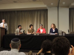 UJA-Federation's LGBTQ conference kicked off with speakers sharing their individual and family journeys. From left to right: Jeff Schoenfeld, Amram Altzman, Diane Wener, Rabbi Ellen Lippmann, and Joy Ladin.