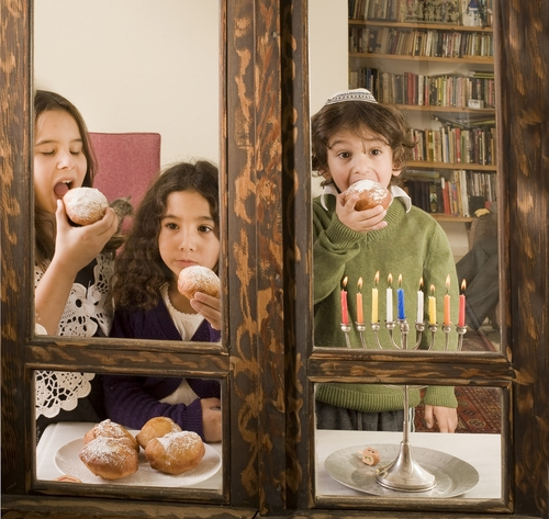 children celebrating hanukkah