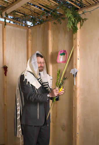 Shaking the lulav and etrog in the sukkah