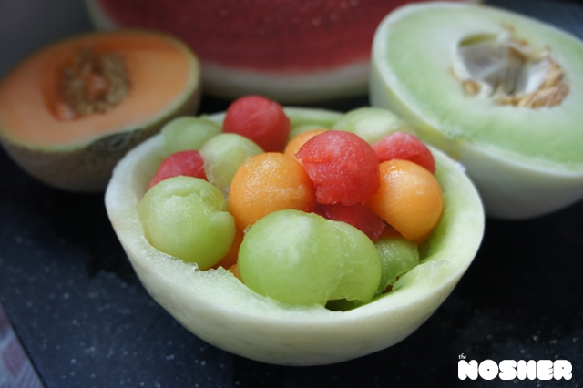 Tri Color Melon Salad with Mint Syrupd