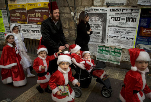 santa claus in meah shearim on purim