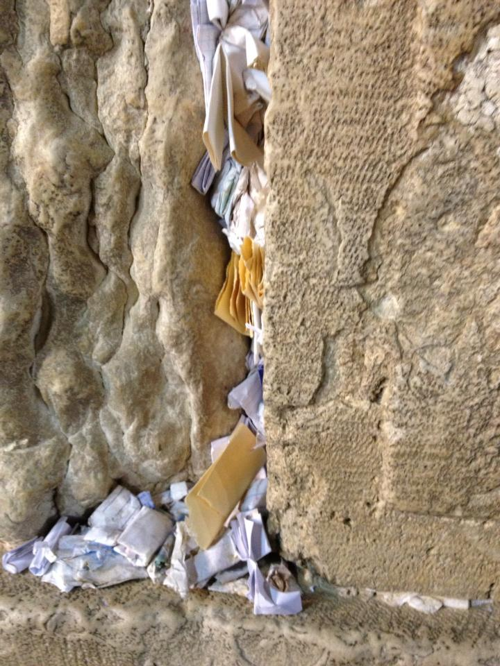 The notes from Columbus, Georgia, join other prayers brought to the Western Wall.