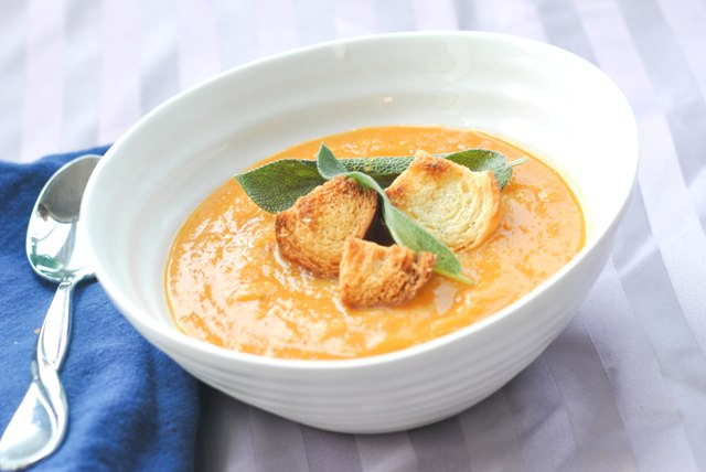 pumpkin soup with sage and challah croutons1