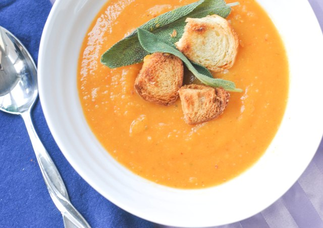 pumpkin soup with sage and challah croutons3