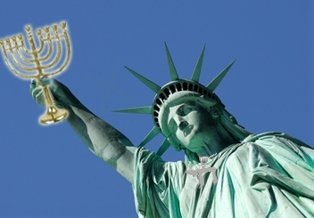 Statue of Liberty with a Menorah