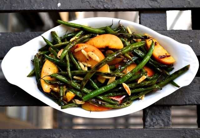 Charred String Beans and Peaches