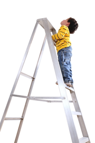 kid on ladder