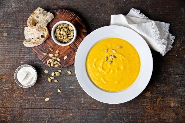 white pumpkin cheddar ale soup