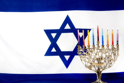Israeli flag and hanukkah