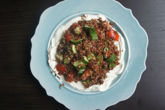 red quinoa with labne