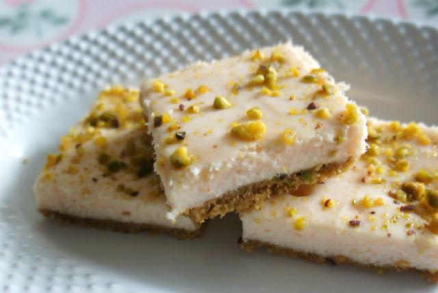 rosewater pistachio cheesecake bars main