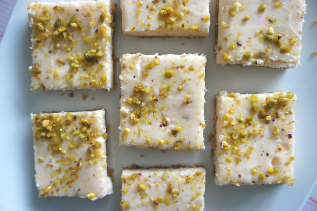 rosewater pistachion cheesecake bars