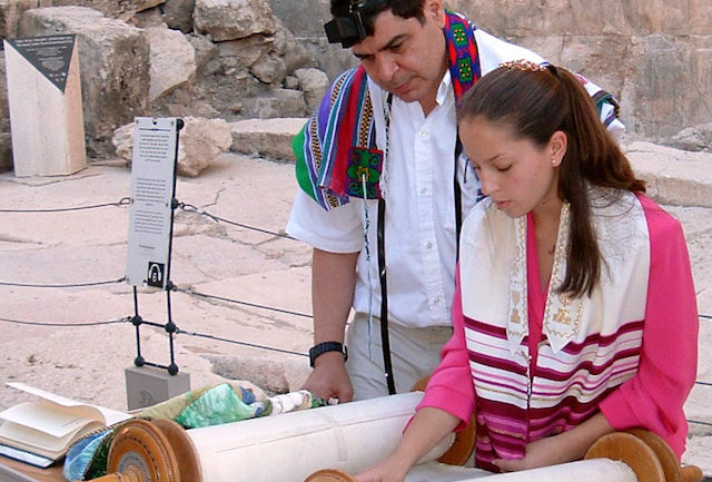 bat mitzvah girl reading torah