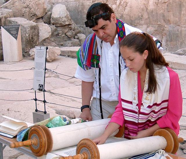 bat mitzvah girl reading torah