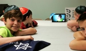 In the classroom -note the kippah on the tablet! :)