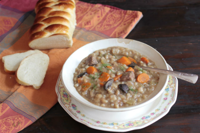 beef barley mushroom soup and challah1