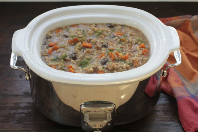 crockpot beef barley mushroom soup in pot