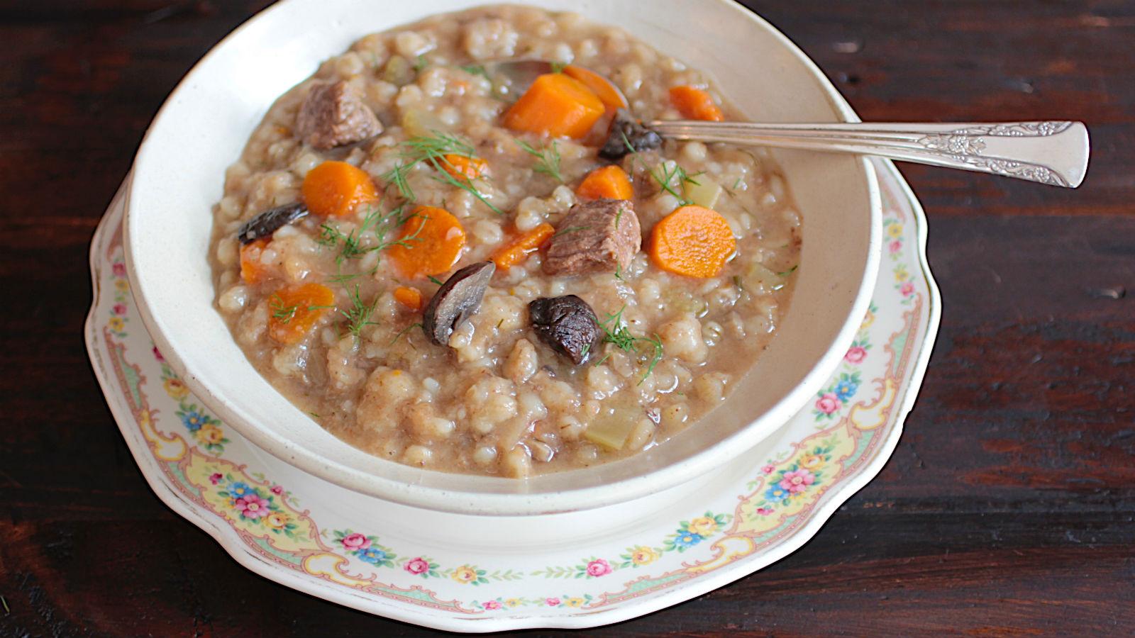 Crockpot Beef Barley Mushroom Soup Recipe The Nosher