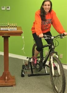 Arielle's long-awaited Bike-To-Light Menorah!