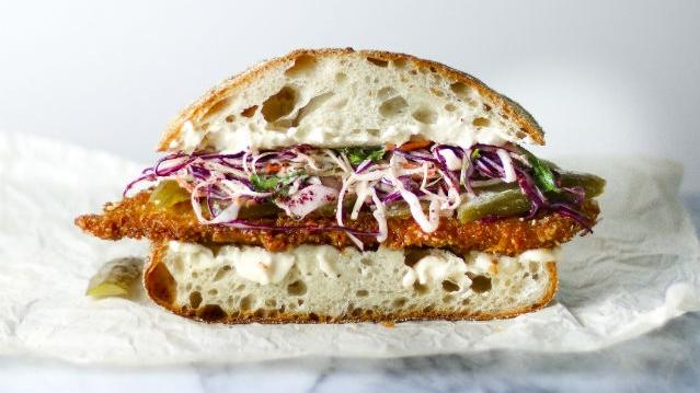 schnitzel and sumac slaw sandwich