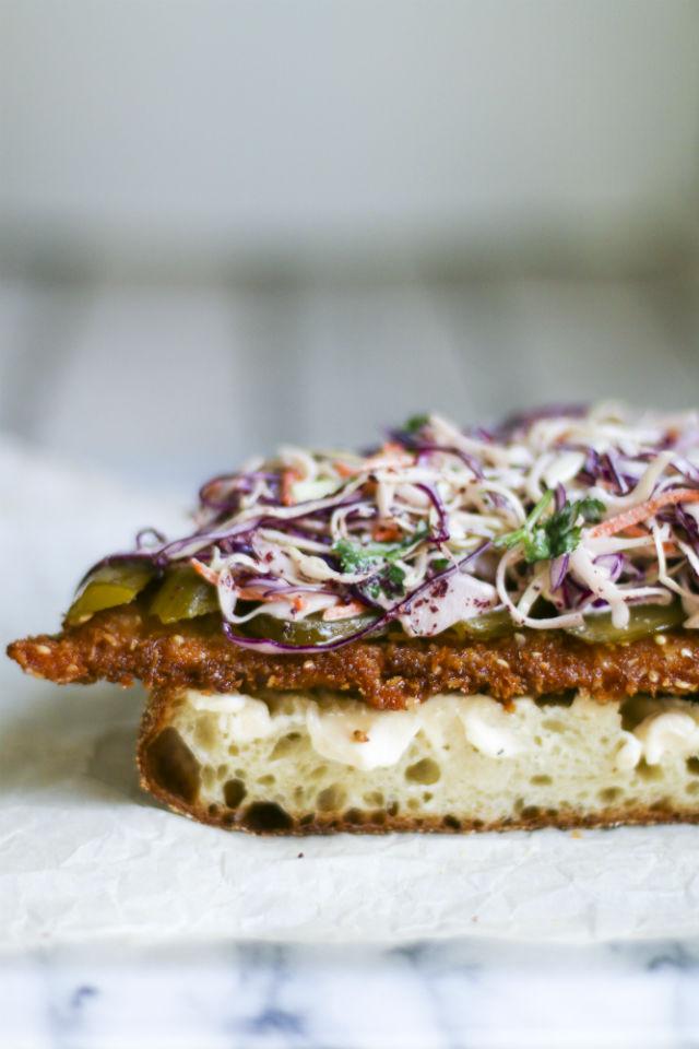 schnitzel and sumac slaw sandwich vertical