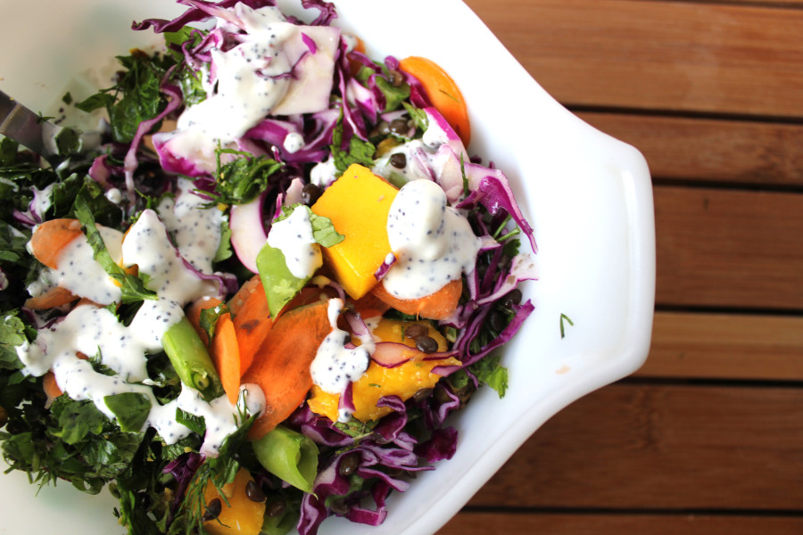 Israeli 7-Layer Salad with Labneh Poppyseed Dressing Recipe