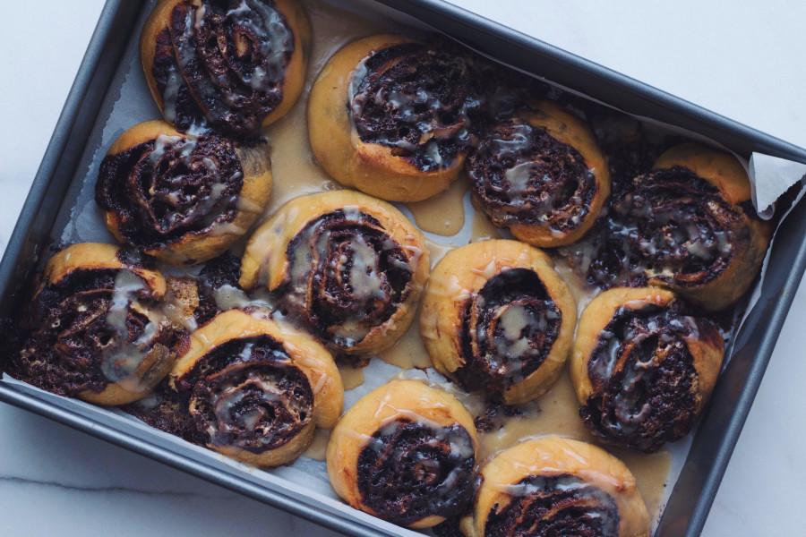 Chocolate, Halvah, and Tahini Swirl Buns Recipe | The Nosher