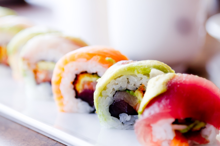 Sushi Rolls and green tea