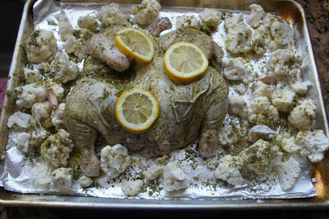sheet pan zaatar chicken prep